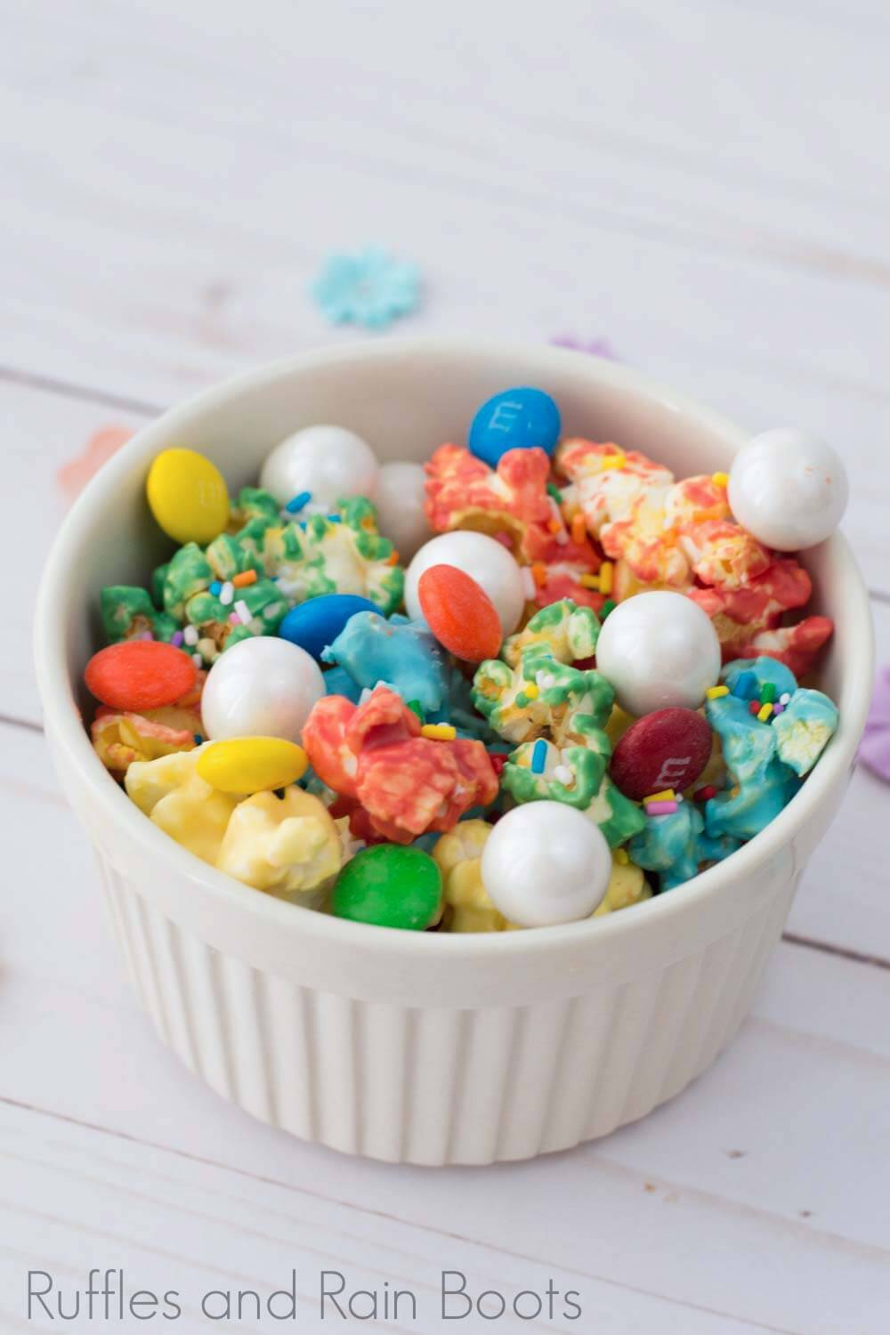 rainbow popcorn for party or movie night close-up
