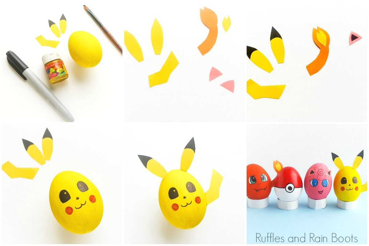 photo collage of how to make pokemon eggs for easter decor