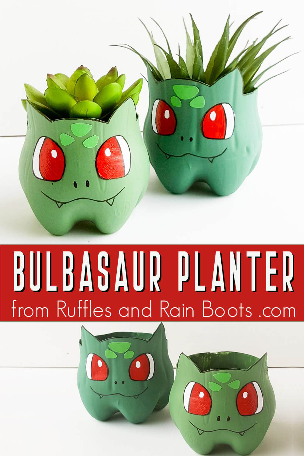 photo collage of Bulbasaur planter recycled pokemon craft with text which reads Bulbasaur planter
