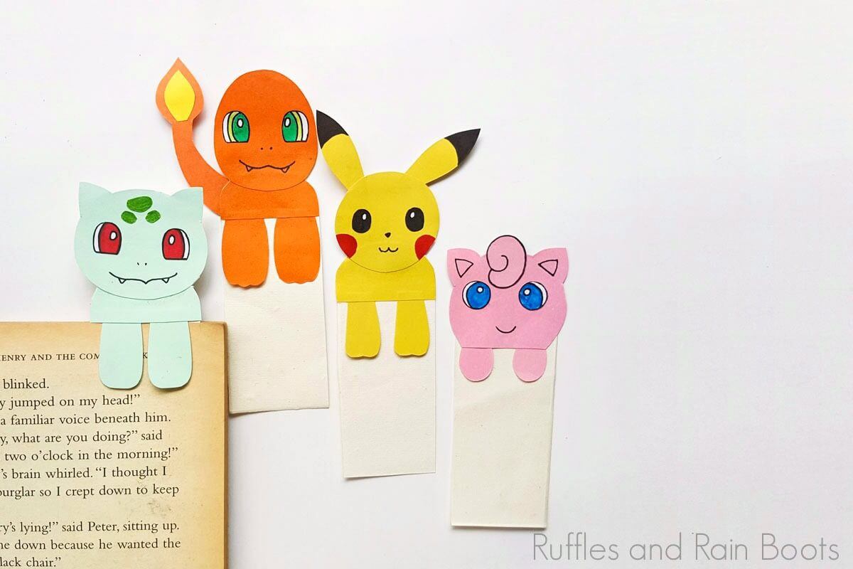 charmander pokemon boomarks on a white background with squirtle bookmarks and jigglypuff bookmarks on a white background