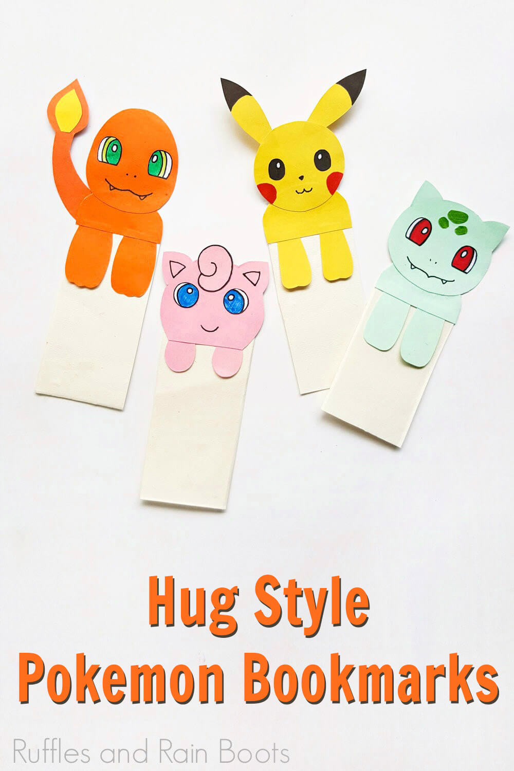 fun hug pokemon bookmarks on a white background with text which reads hug style pokemon bookmarks