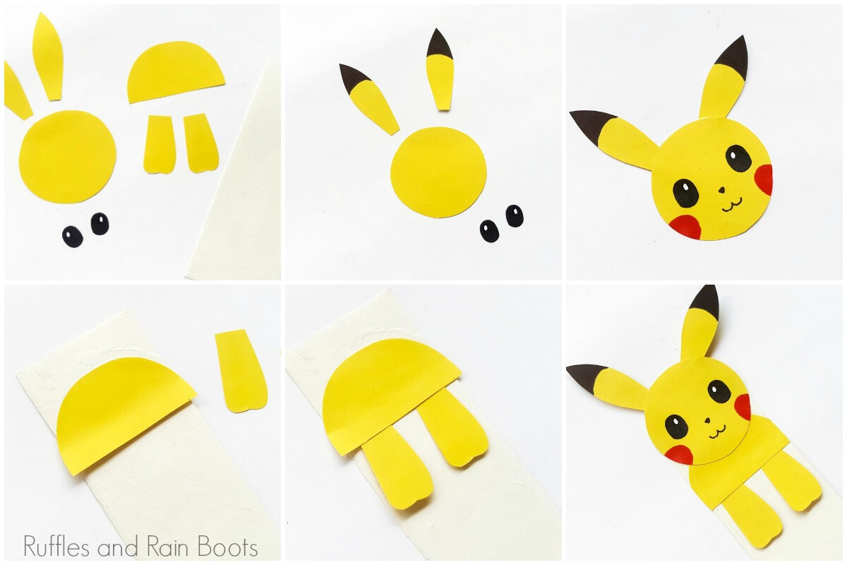 photo collage of how to make pokemon bookmarks in hug style