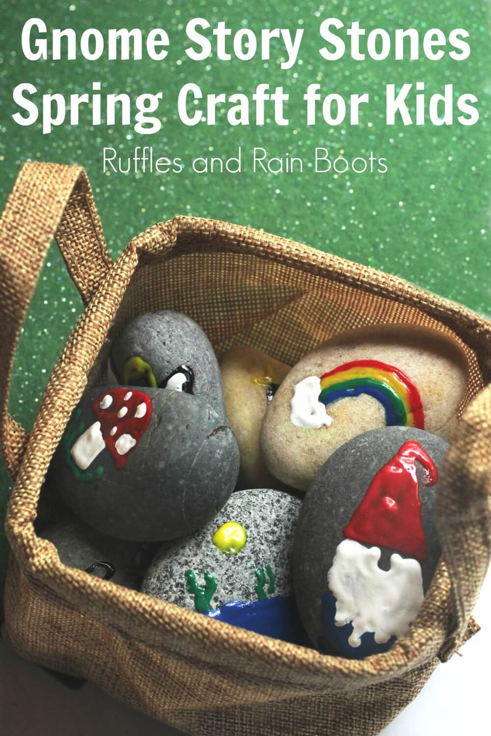 completed garden gnome story stones together in a basket with text Gnome Story Tones Spring Craft for Kids