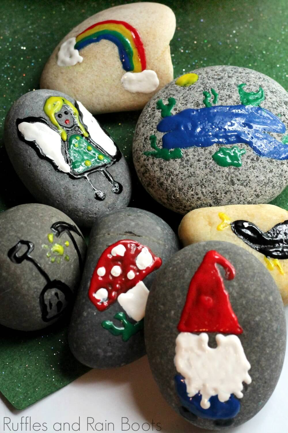 completed gnome rock painting ready to take and place outdoors