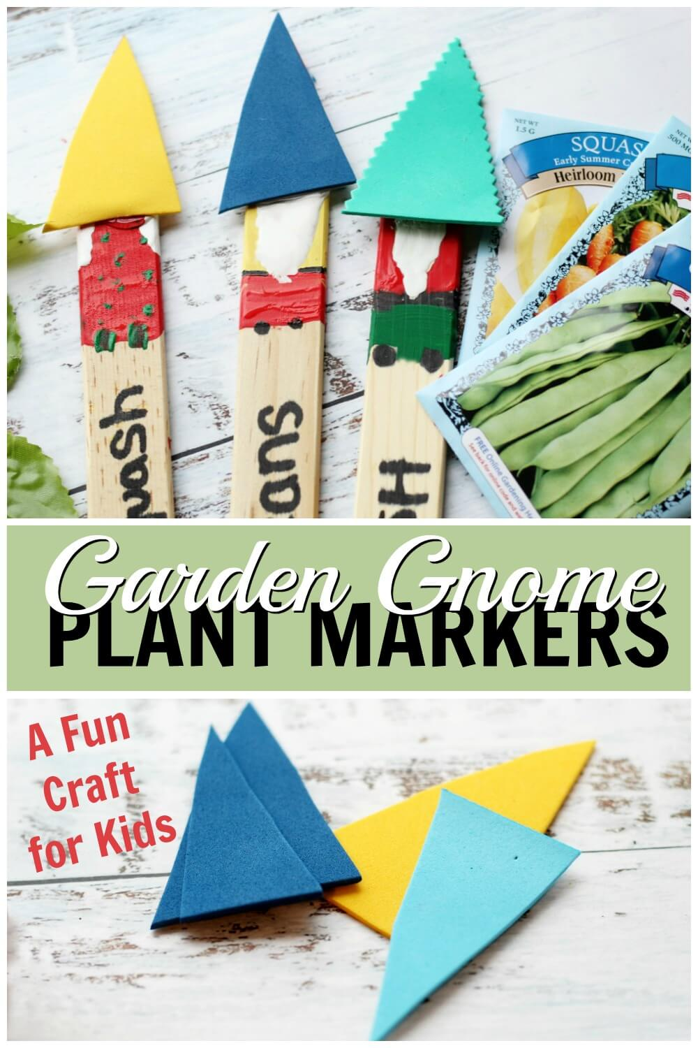 photo collage of gnome craft for kids with completed gnome markers on tip and steps on the bottom with text Garden Gnome Plant Markers