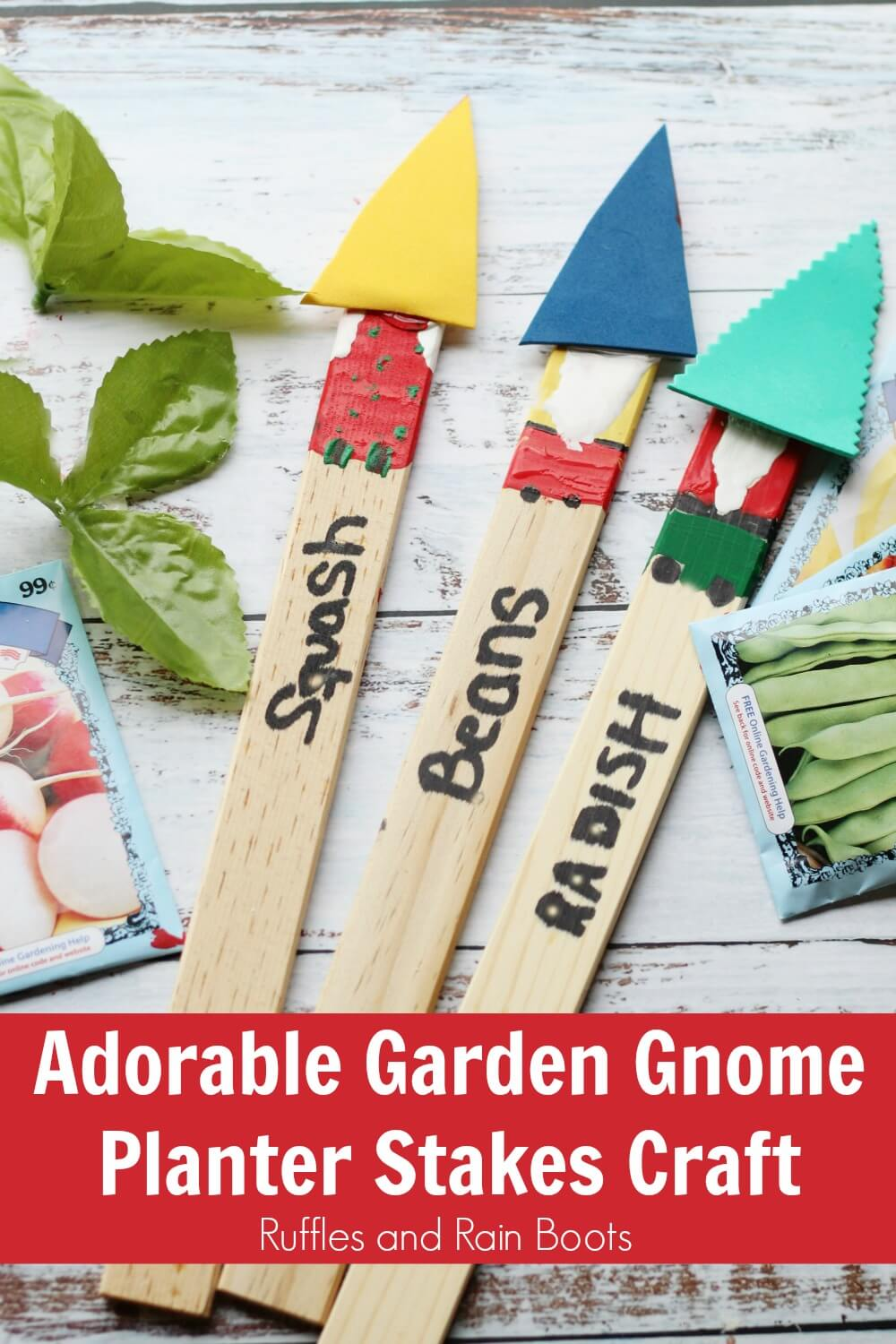 close up of garden gnome craft with text Adorable Garden Gnome Planter Stakes Craft