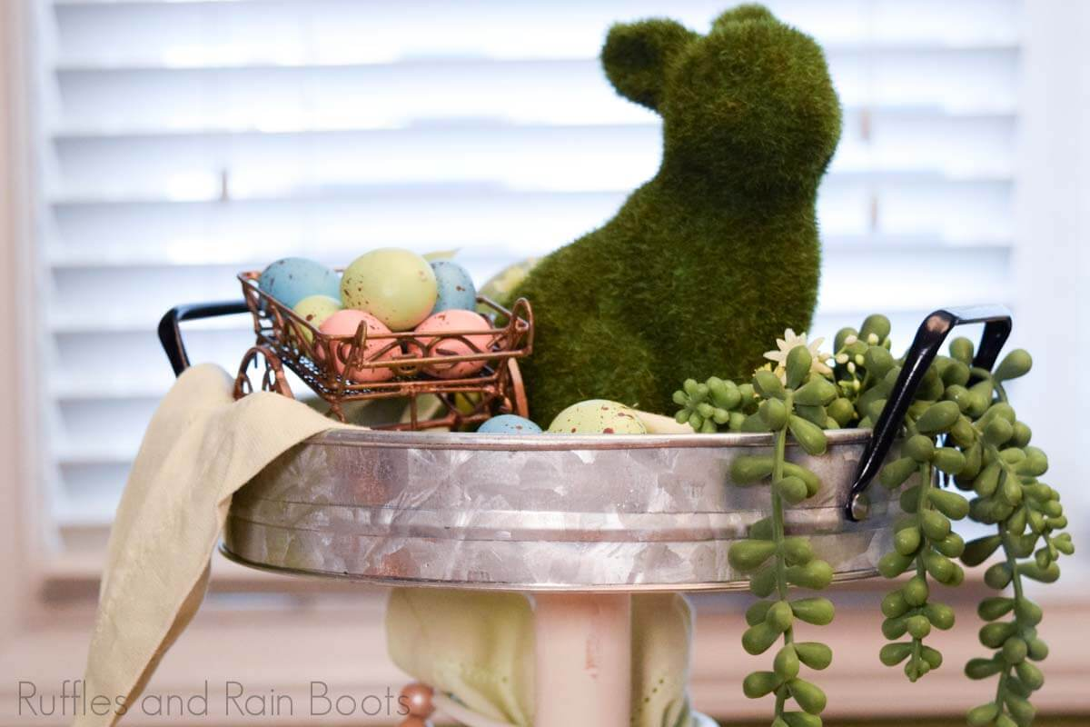 top of Easter farmhouse tiered tray