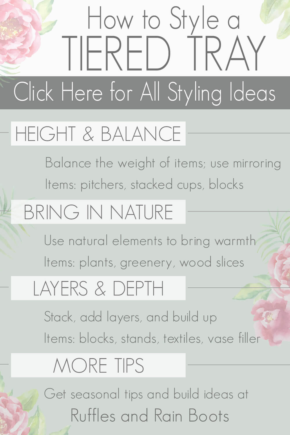 infographic on how to style a tiered tray