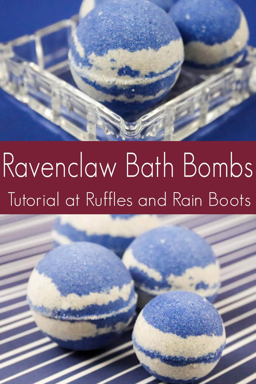 photo collage of harry potter ravenclaw bath bomb recipe with text which reads ravenclaw bath bombs