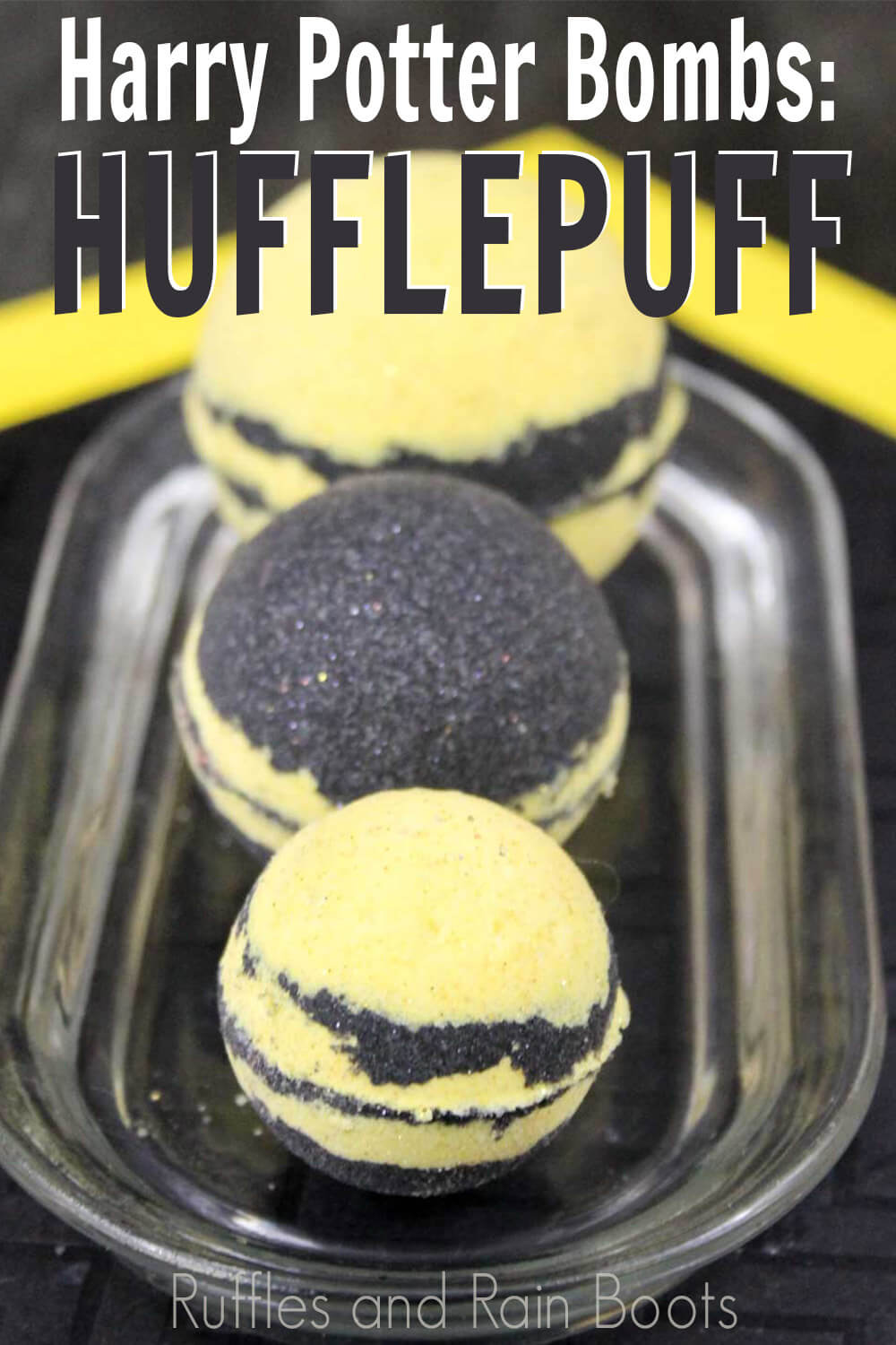 harry potter bath bombs hufflepuff with text which reads harry potter bath bombs: hufflepuff