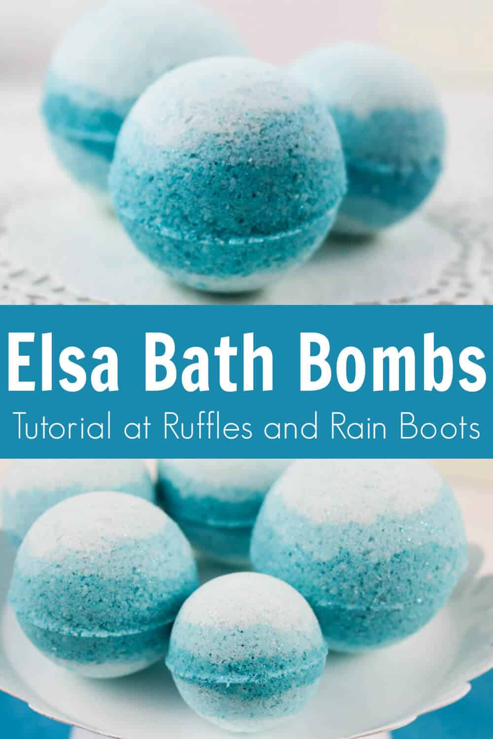 photo collage with text which reads elsa bath bombs