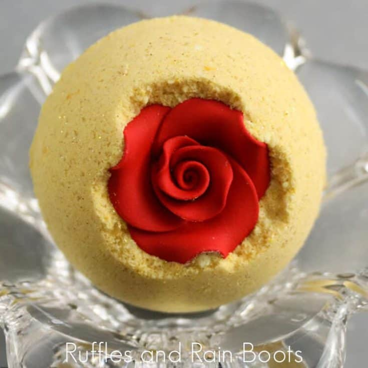 belle bath bombs on a silver background