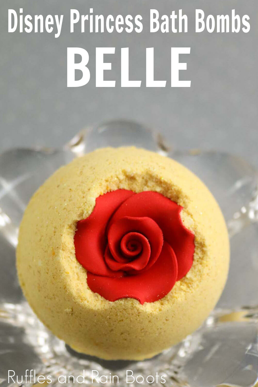 disney belle bath bombs on a silver background with text which reads disney princess bath bombs: belle
