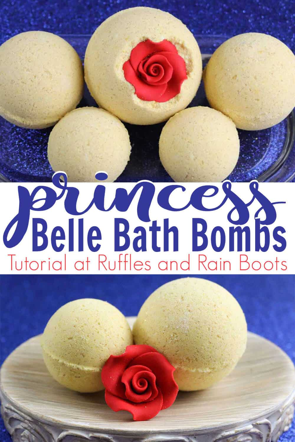 photo collage with text which reads princess belle bath bombs
