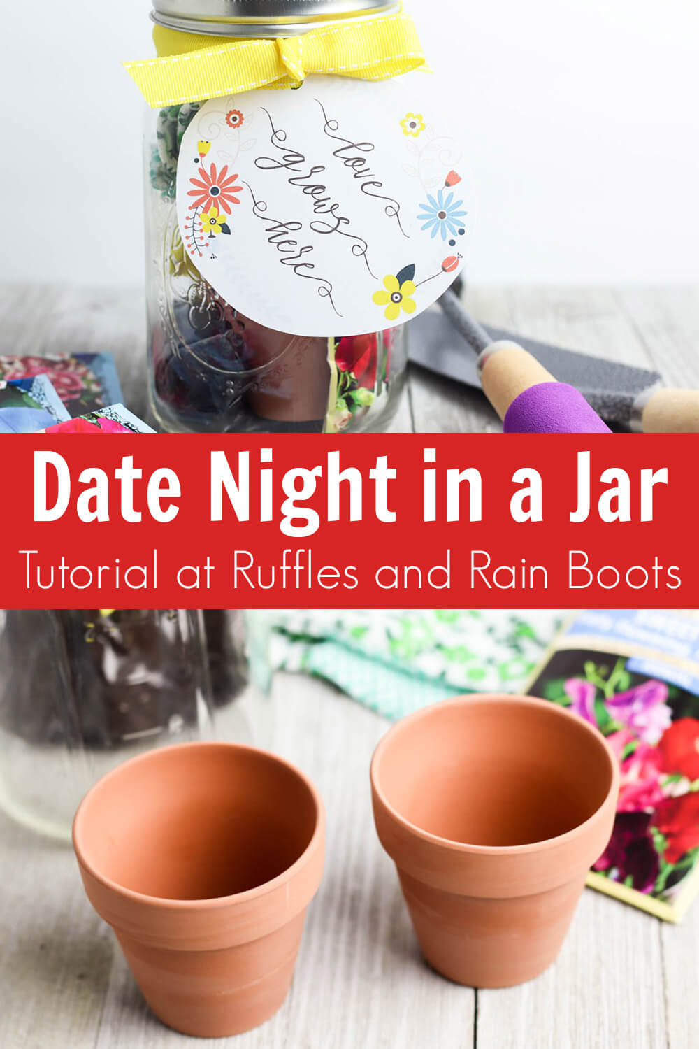 photo collage of how to make a date night in a jar with text which reads date night in a jar