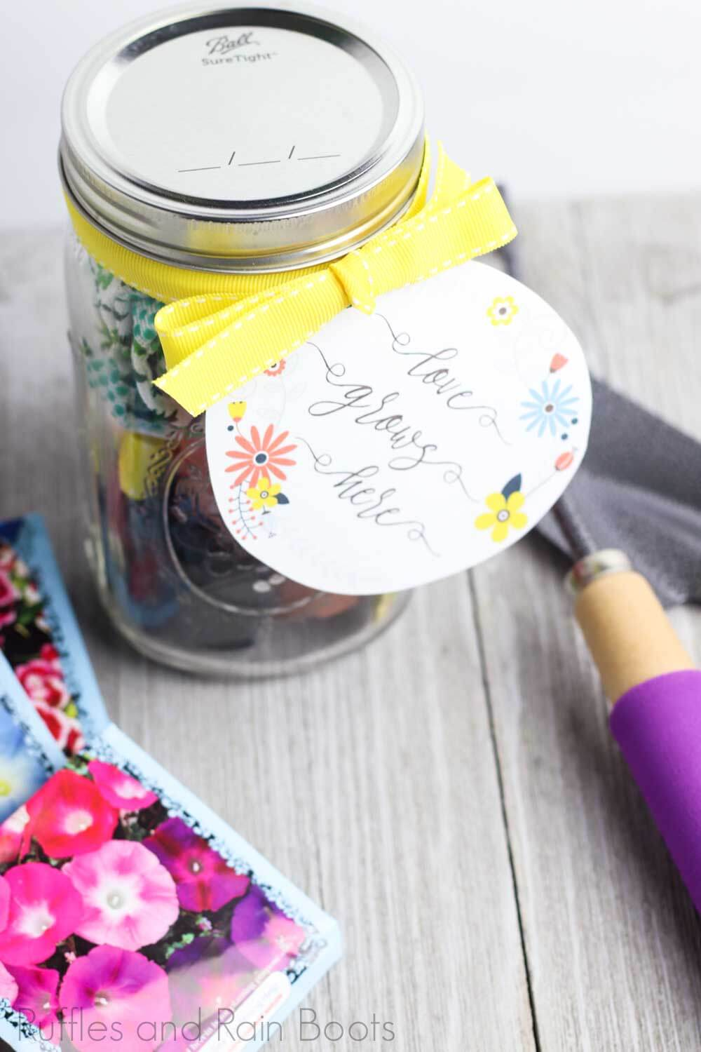 flower love grows date night in a jar on a wooden background