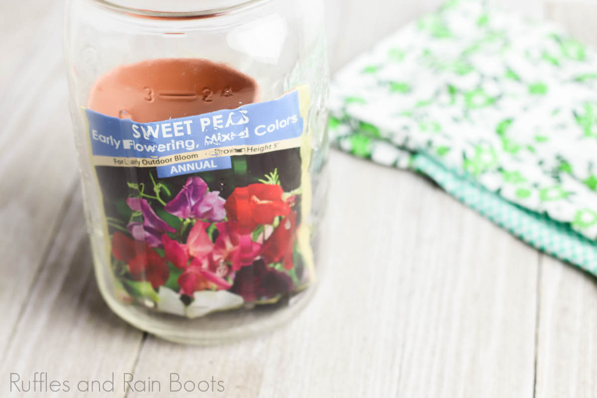 flower date night in a jar of adding flower seeds into the jar