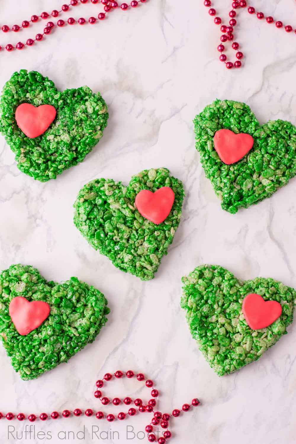 how to make grinch rice krispies treats with hearts