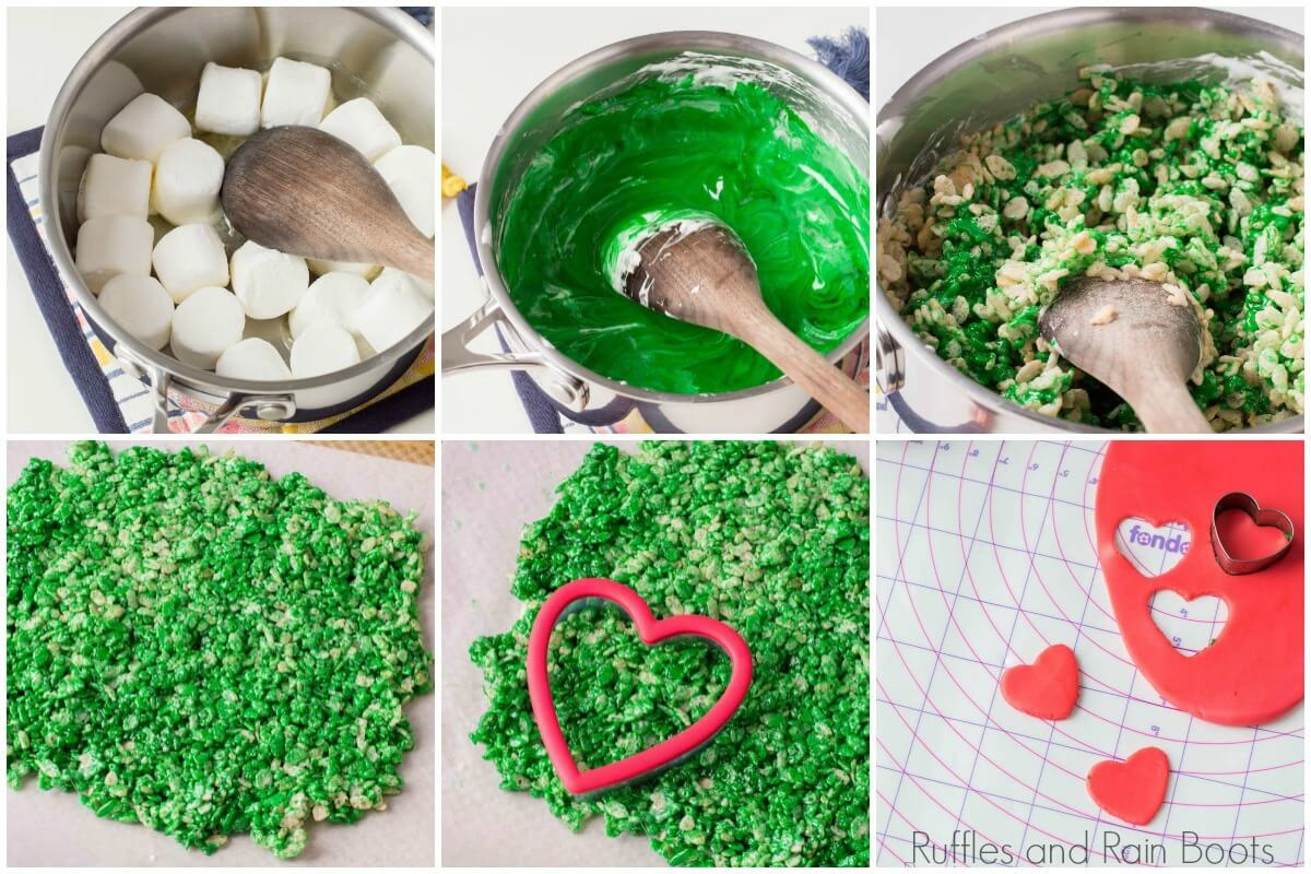 photo collage of how to make rice krispies grinch treats