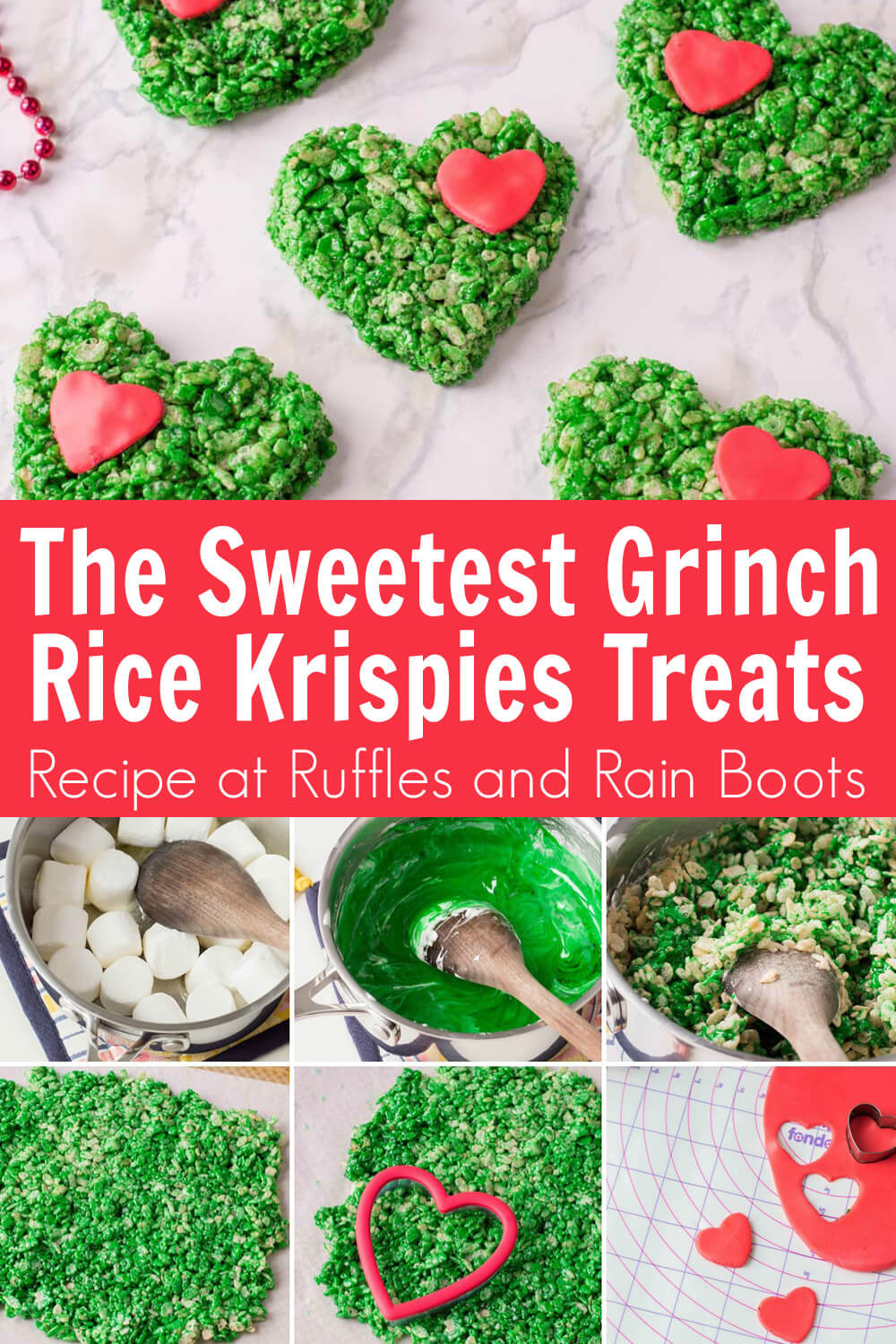 photo collage of how to make grinch rice krispies treats with text which reads the sweetest grinch rice krispies treats