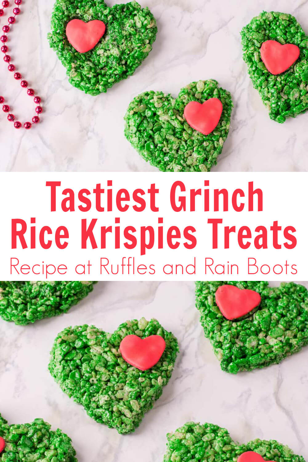 photo collage of grinch rice krispies treats with text which reads tastiest grinch rice krispies treats