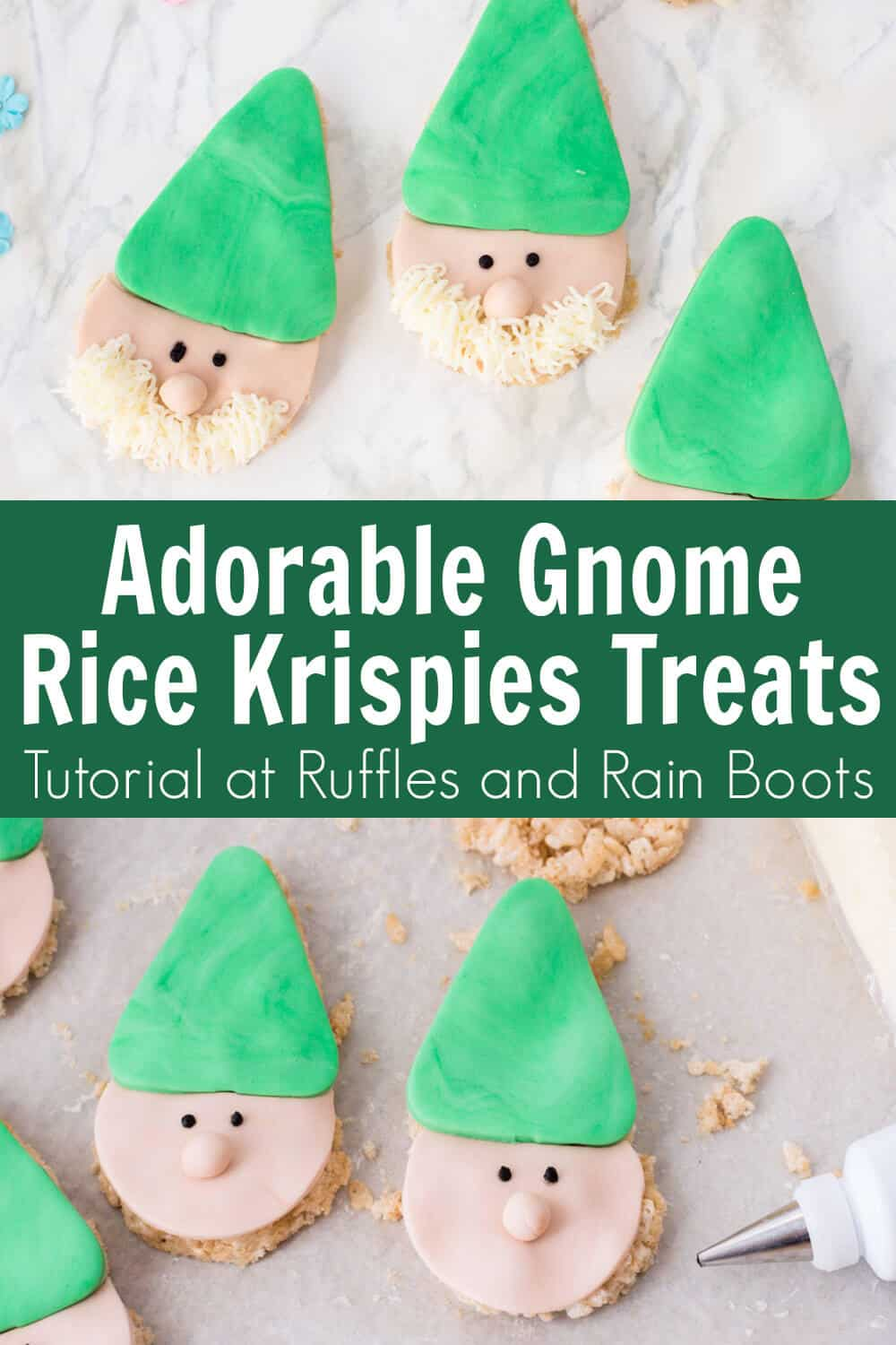 photo collage of adorable gnome rice krispies with text which reads adorable gnome rice krispies treats