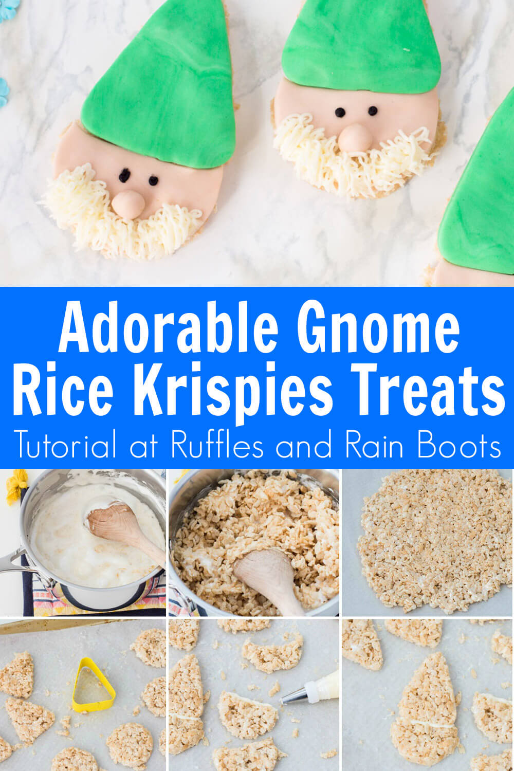 photo collage of fun garden gnome krispies treats for spring with text which reads adorable gnome rice krispies treats