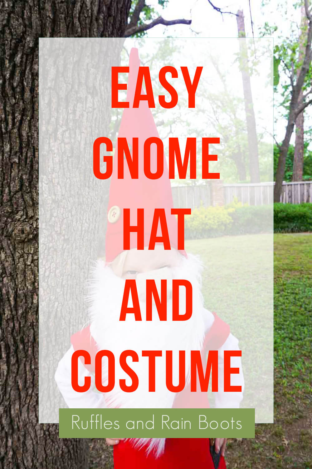 text overlay which reads easy gnome hat and costume for kids