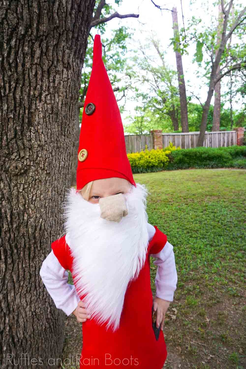 child dressed in gnome costume for kids
