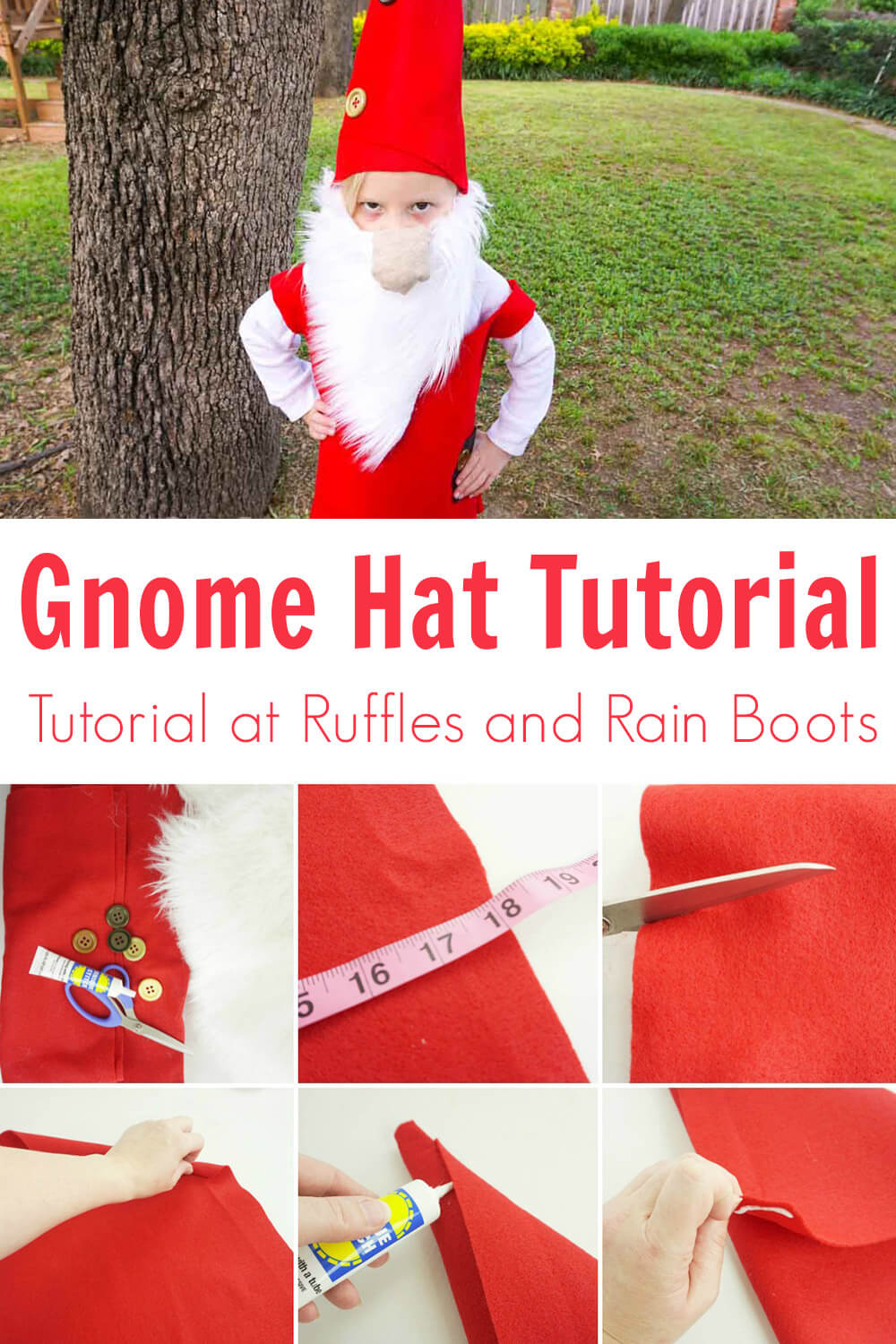 photo collage of gnome hat tutorial for gnome costume with text which reads gnome hat tutorial