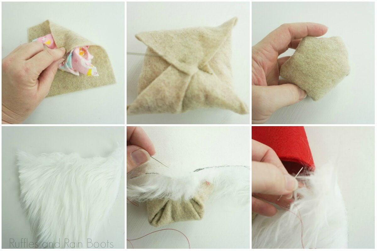 photo collage of how to make a gnome hat with nose