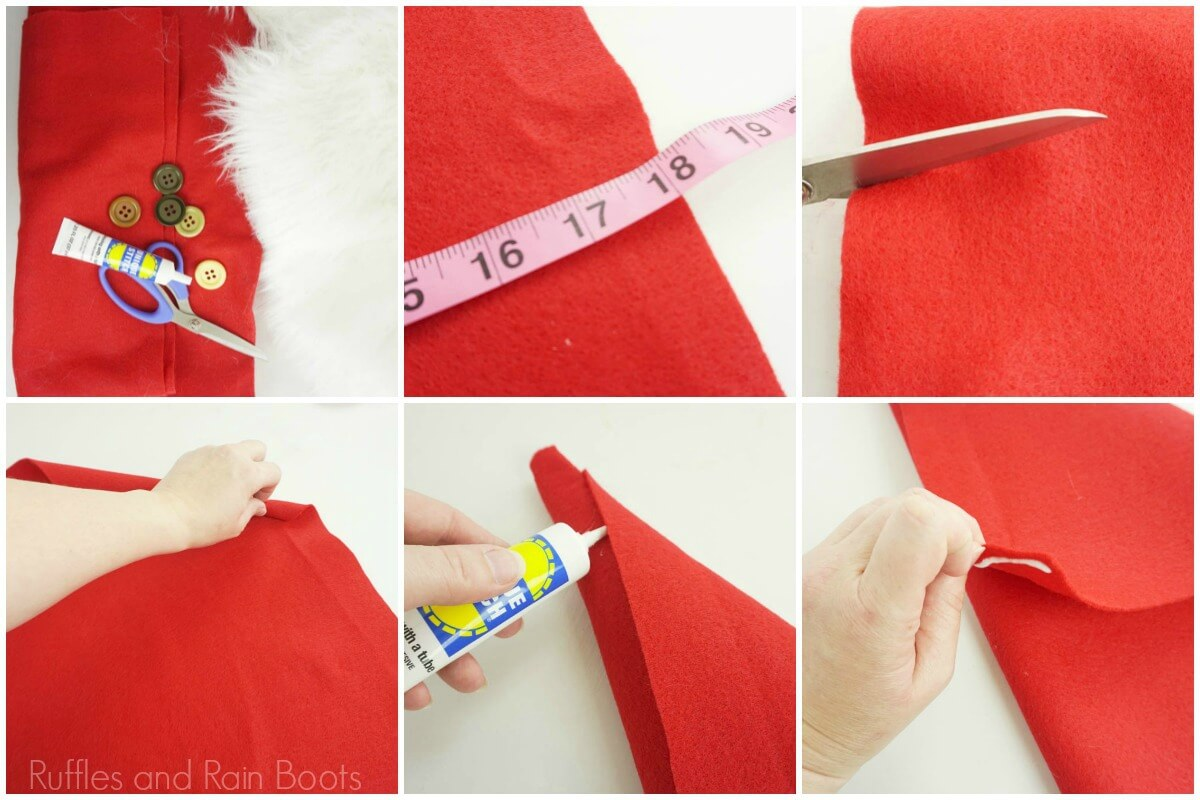 photo collage of how to make a gnome hat