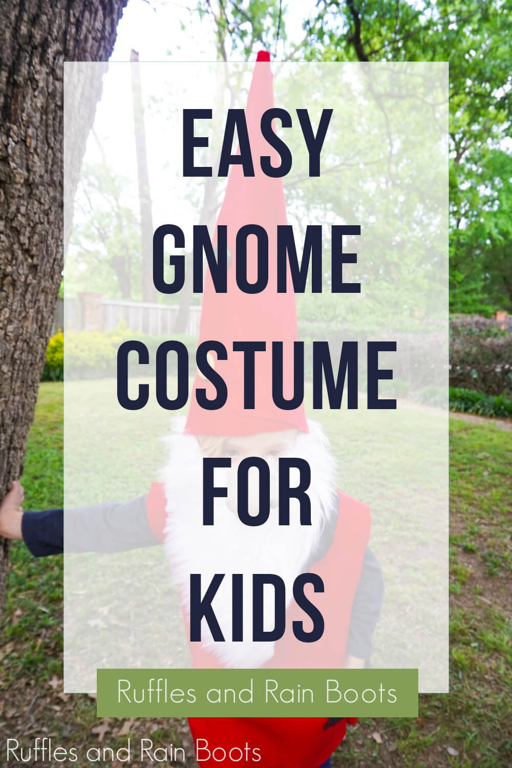 text overlay which reads easy gnome costume for kids