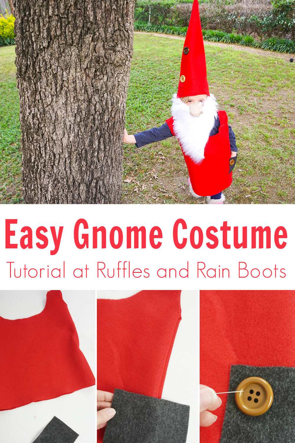 photo collage of kids gnome costume tutorial no sew with text which reads easy gnome costume