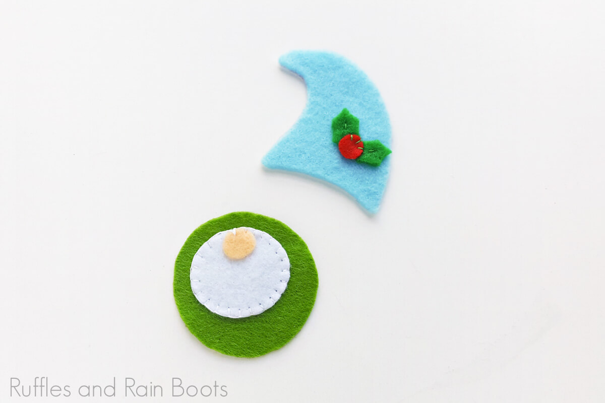 in process step of tutorial for making a felt gnome ornament