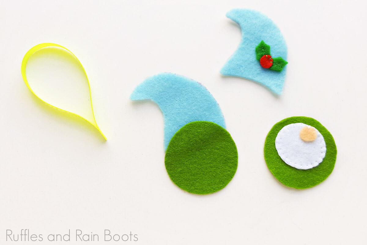 in process step of felt gnome ornament tutorial
