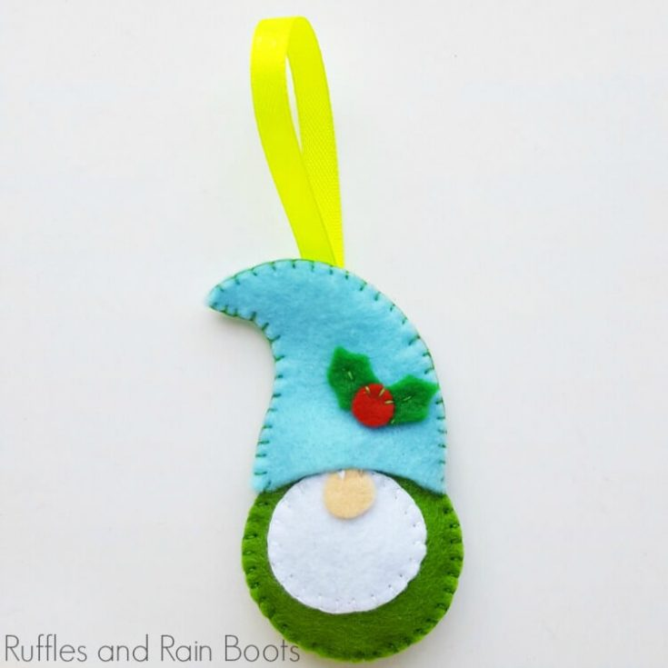 felt gnome ornament on a white background