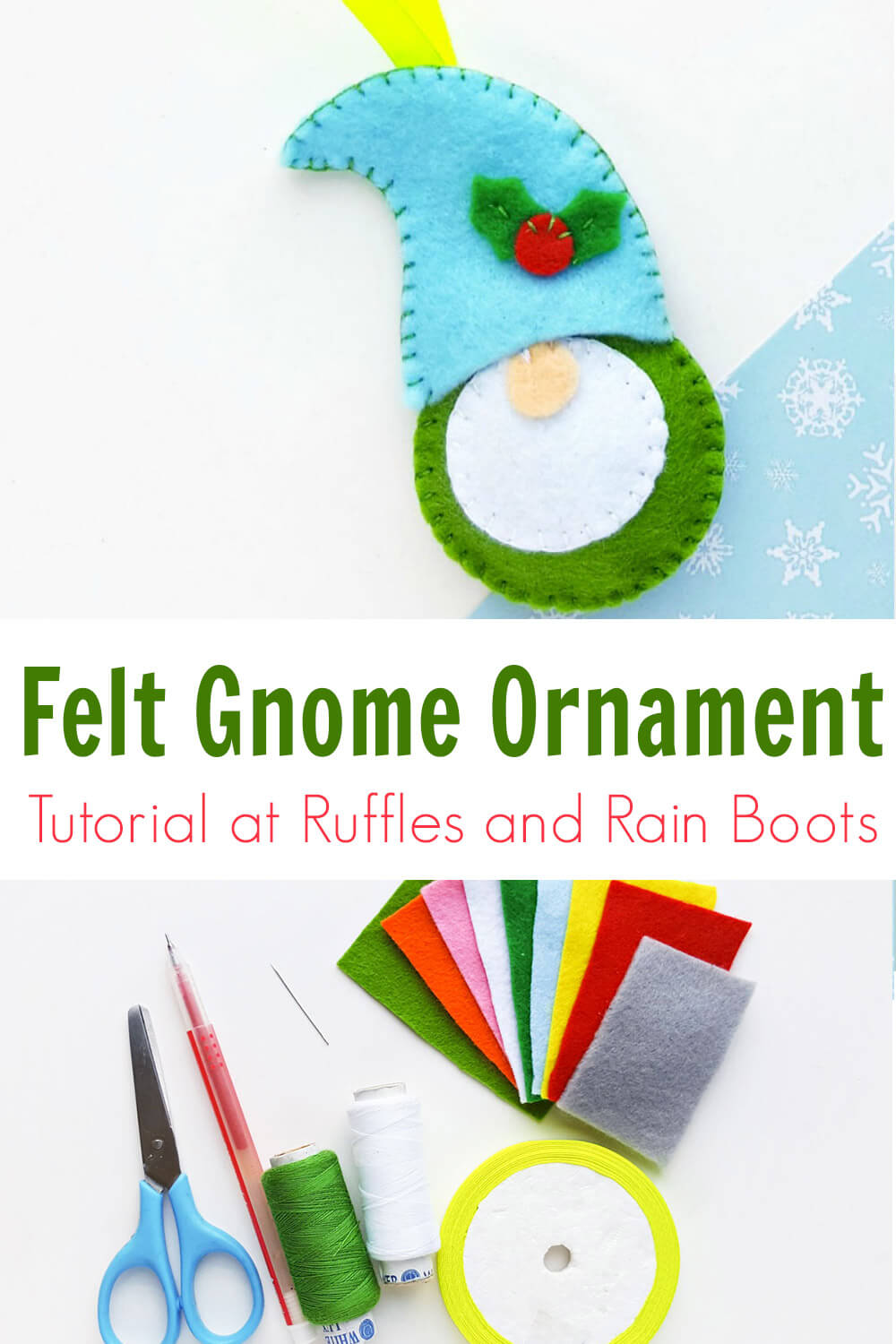 photo collage of felt gnome ornament tutorial and pattern with text which reads felt gnome ornament