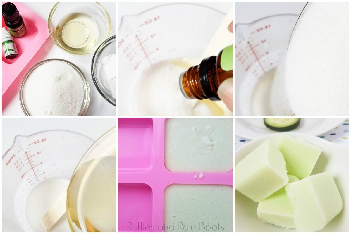 photo collage tutorial of how to make cucumber melon sugar scrub bars