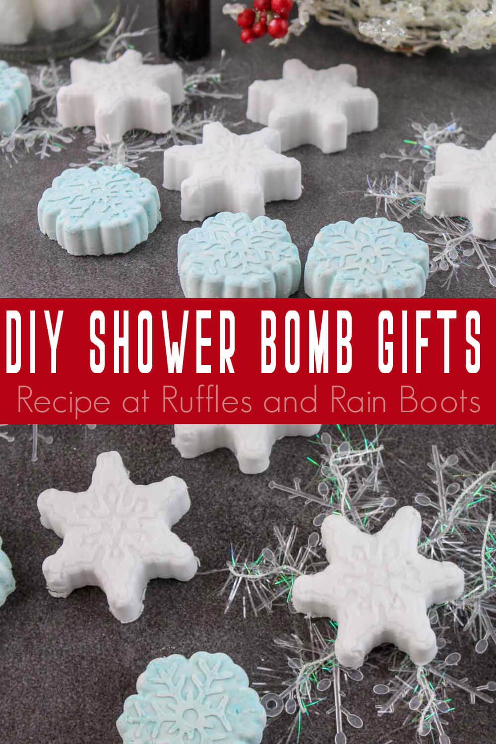 photo collage of diy shower bombs recipe gift idea with text which reads diy shower bomb gifts