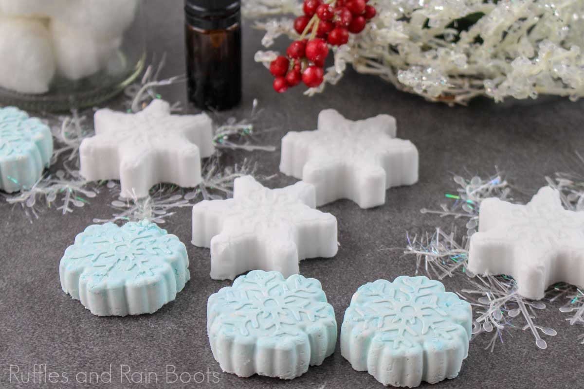 shower bombs recipe for christmas gift ideas on a grey background