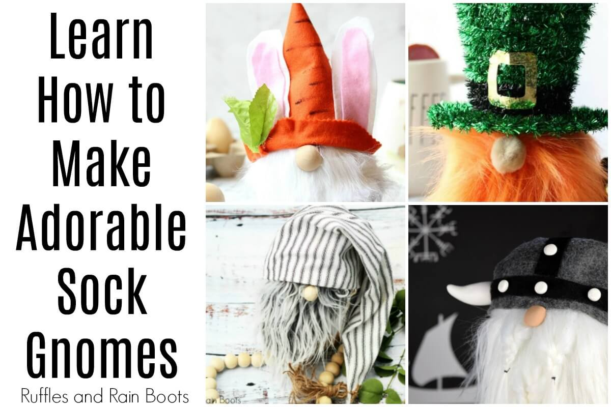 collage of sock gnomes with text which reads learn how to make adorable sock gnomes