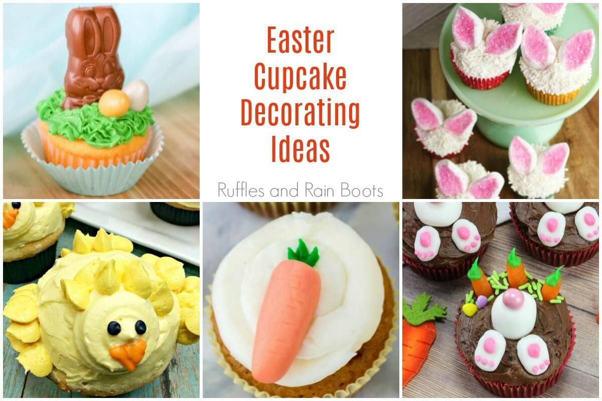 photo collage of adorable Easter cupcakes
