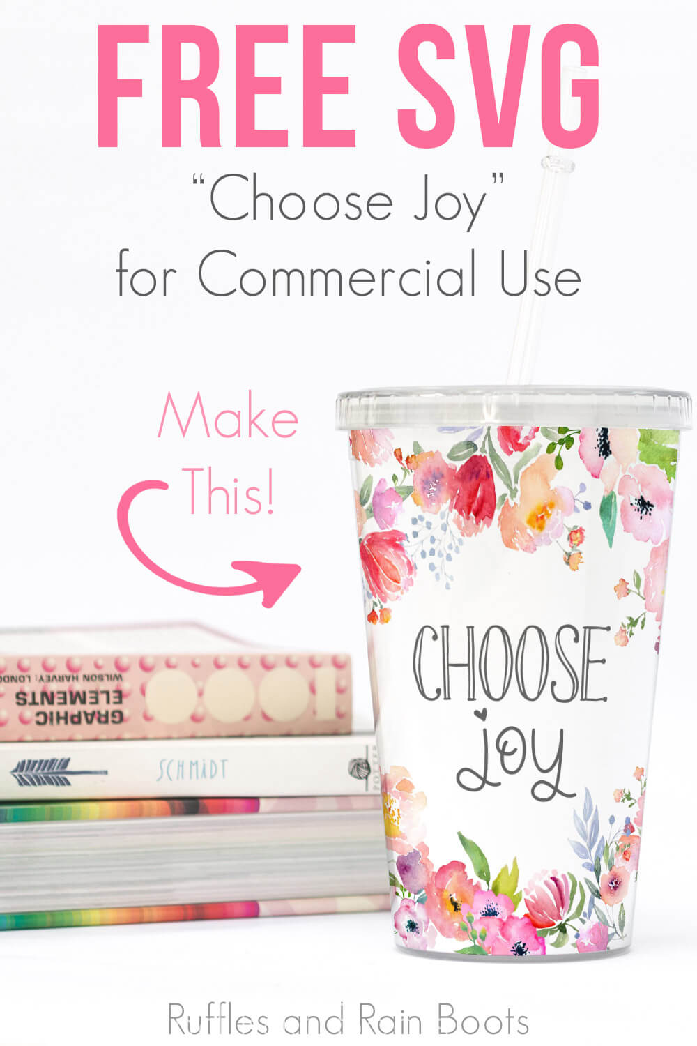 close up of choose joy svg on tumbler for gift idea