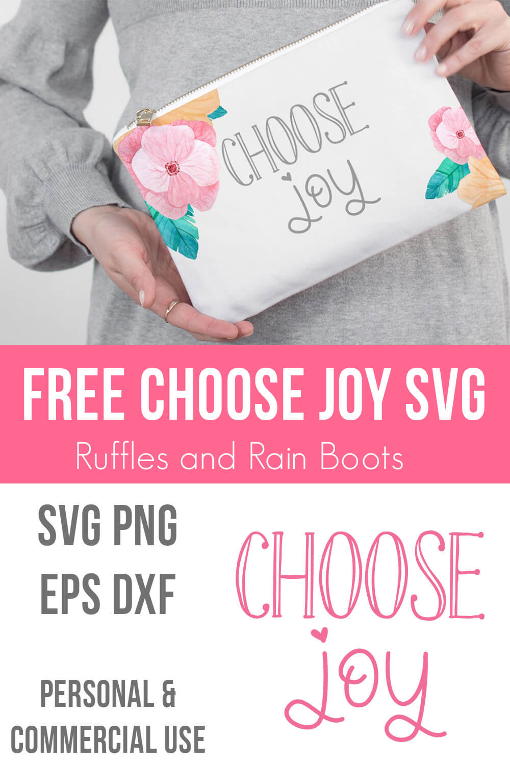 photo collage of choose joy free svg file and close up of cosmetic bag gift