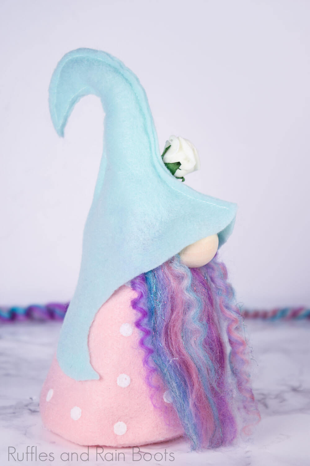 full shot of elfin gnome pattern in use on spring gnome