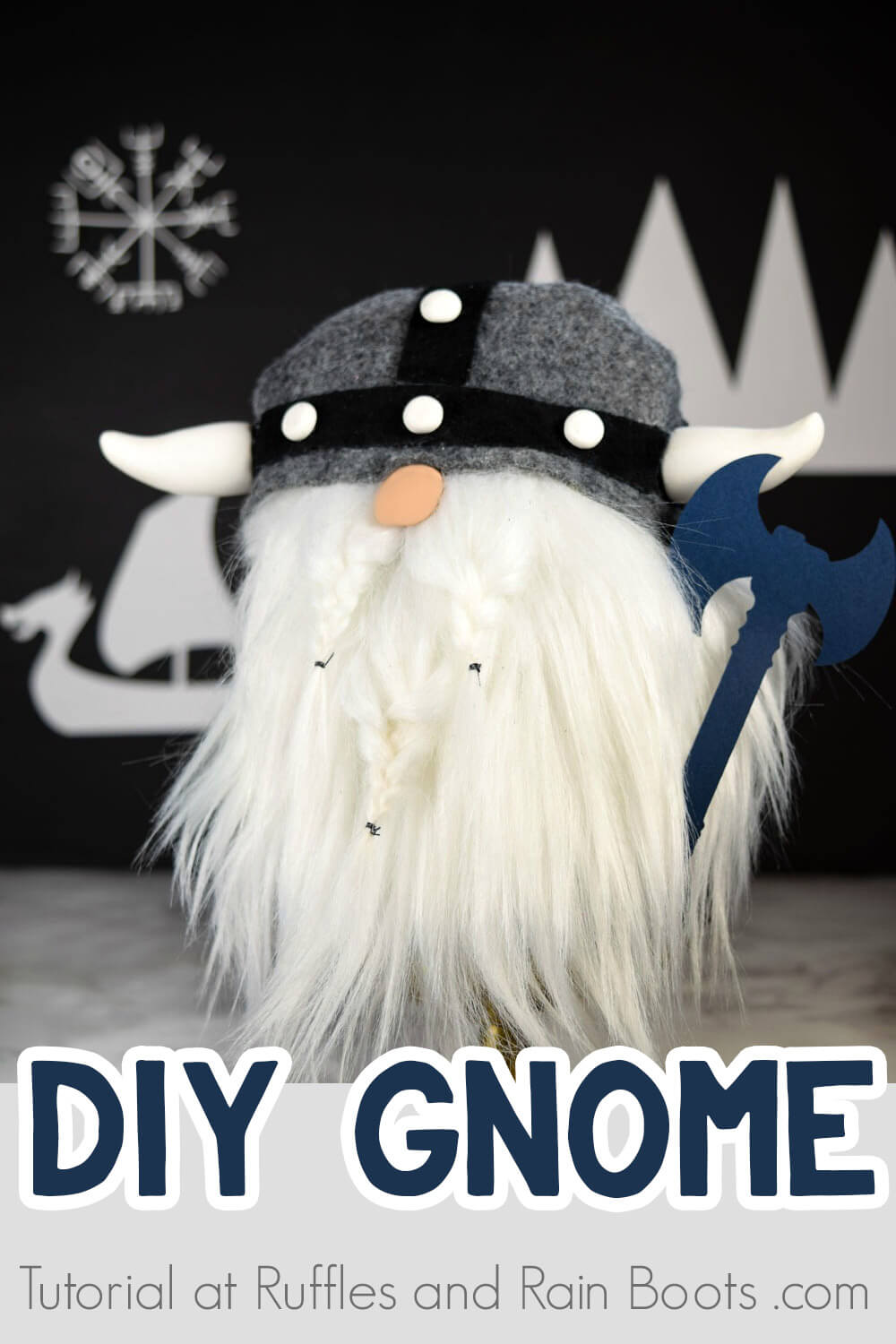 Viking gnome on dark background with text which reads DIY gnome