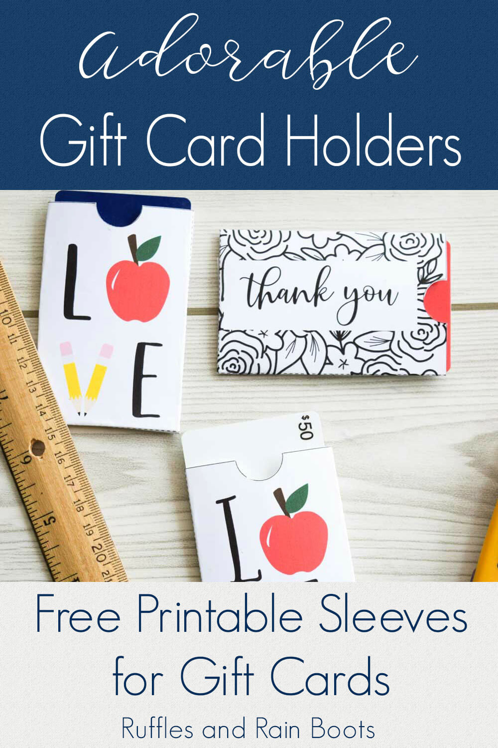 close up of teacher appreciation gift card holders on wood background with text which reads adorable gift card holders