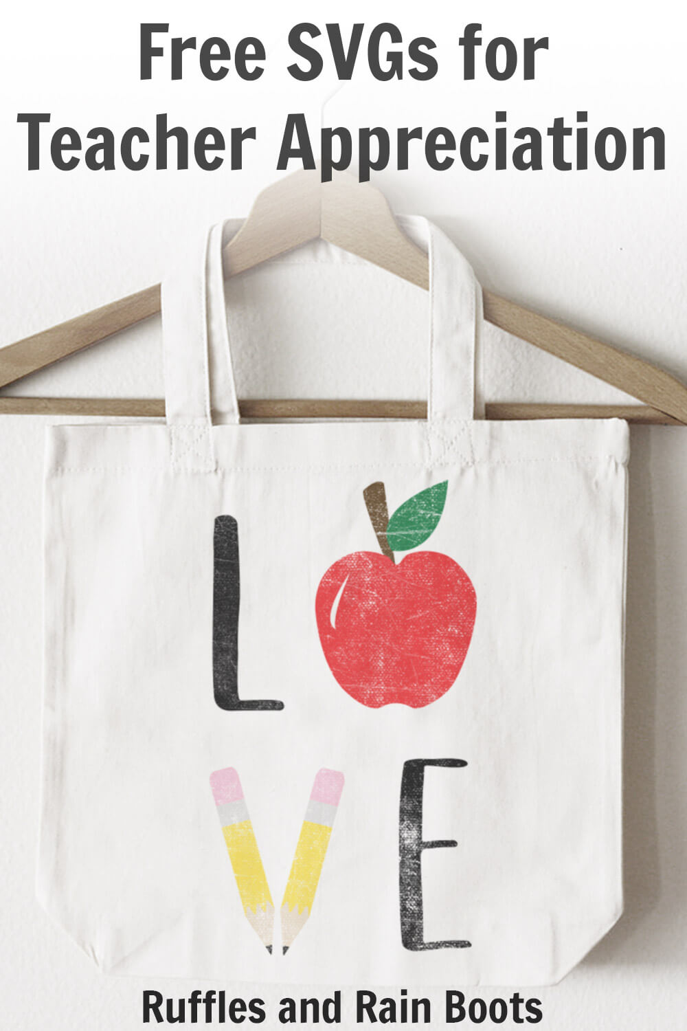 teacher appreciation svg on tote bag with text which reads free SVGs for teacher appreciation