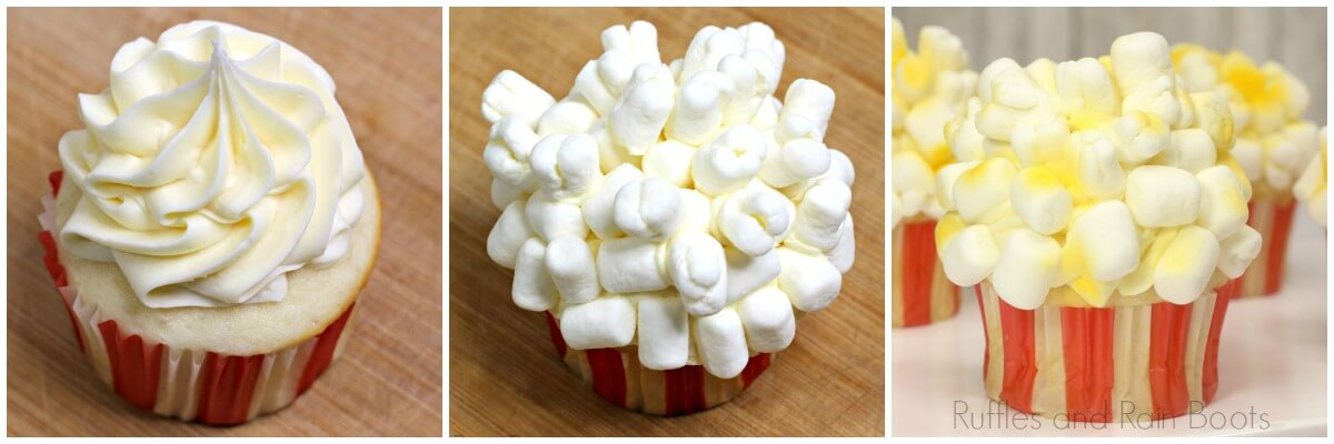 photo tutorial of how to make popcorn cupcakes for a movie night